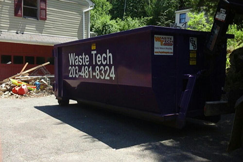 Household clean-out dumpster rental project in Bethany, CT